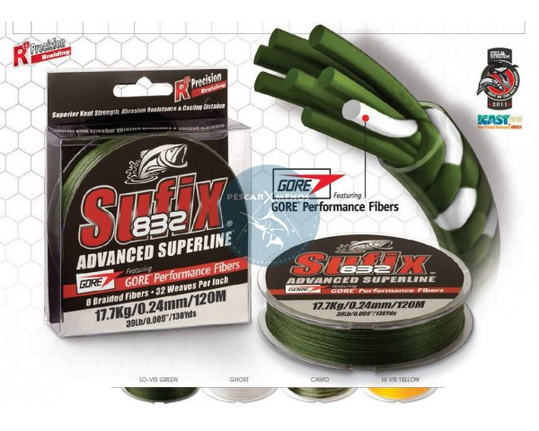sufix 832 120m 0.48mm 45kg color verde